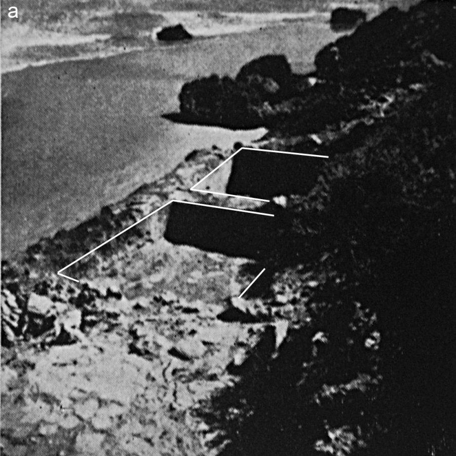 Essaouira Island: Two Roman rock-cut fish-salting vats on the eastern face of the island were intact when photographed in 1955 prior to excavation (seen from above, upper edges highlighted for clarity) but had already eroded by the 1960s. (after Jodin 1967: Pl. XXVII, with permission of INSAP)